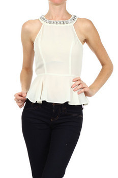 Sleeveless, fit and flare blouse with zipper closure on back and an elastic waist. Blouse features jewel trim on collar.   100% POLYESTER Made In: China Sizes: S M L  PRICE  €98.50