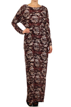 Printed full length dress with long dolman sleeves, elastic waist, and jewel neck.  100% Rayon Made In: USA Sizes:  S M L  PRICE  €99.00