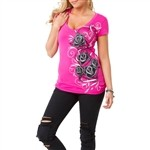 Metal Mulisha Good Time V Neck T Shirt Pink  Our Price: €25.00