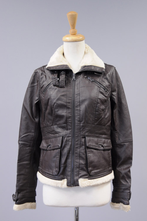 JK8007F  Cavalini/Cisono Faux leather jacket with zipper and buckle collar closure. Faux fur lined. 2 decorative hest pockets and snap closure pockets at waist.  Shell: 100% Polyurethane Lining: 100% Polyester Stock Availability: In Stock PRICE €124.00