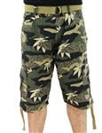 Southpole Belted Camo Shorts Woodland Green  Our Price: €44.00