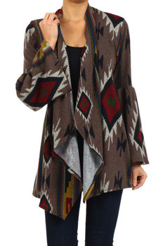 Tribal print, bell sleeve open front knit cardigan with asymmetrical hemline.   100% POLYESTER Made In: USA Sizes: S M L  PRICE  €105.50