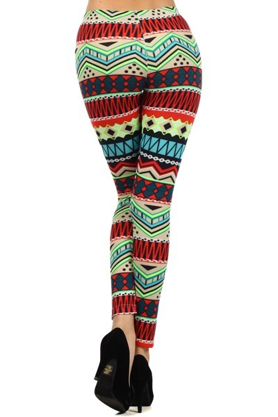 827PT506    Yelete *** Size runs small. Fits S/M ***  The Couture with Tribal print is winter jersey knit legging with a mid waist and slim fitting fashion legging. Fabric: 90% Polyester, 10% Spandex Stock Availability: In Stock Original Price €15.99