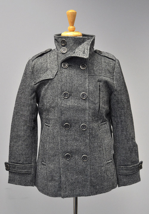 MECT6005  Cavalini/Cisono Peacoat with antique gunmetal buttons. Zippered chest pocket, two waist pockets and interior chest slit pocket. Shell: 15% Wool - 85% Polyester Lining: 100% Polyester Stock Availability: In Stock PRICE  €128.00
