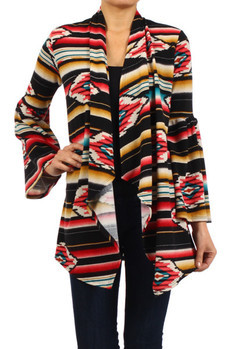 Tribal print, bell sleeve open front knit cardigan with asymmetrical hemline.   97% POLYESTER 3%SPANDEX  Made In: USA Sizes: S M L  PRICE  €105.50