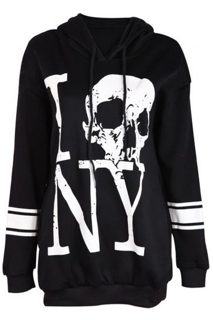 One Size: Bust:92cm Length:71cm Size&Fit:US6 Description Black hoodie, featuring skull and letters print on front, long sleeves, with white stripes print, unique hooded neckline, decorated with twin drawstrings, twin insert pockets on lower body. €129.00