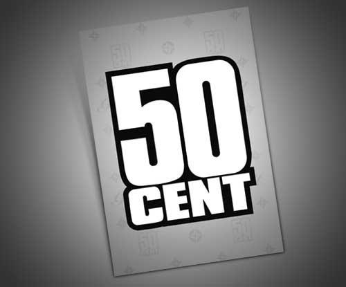 50 CENT - 3X2 VINYL STICKER  Price: €3.99