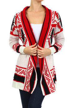 Long sleeve, knitted Aztec tribal printed open sweater with ribbed hemline. 55% Ramie, 45% Cotton Made In: China Sizes: S M L  PRICE  €99.50