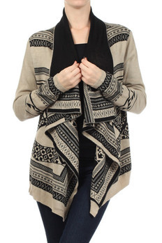 Tribal print, knit cardigan with a draped neck. Features an open front and an asymmetric hem.   100%ACRYLIC Made In: China Sizes: S M L  PRICE  €110.25