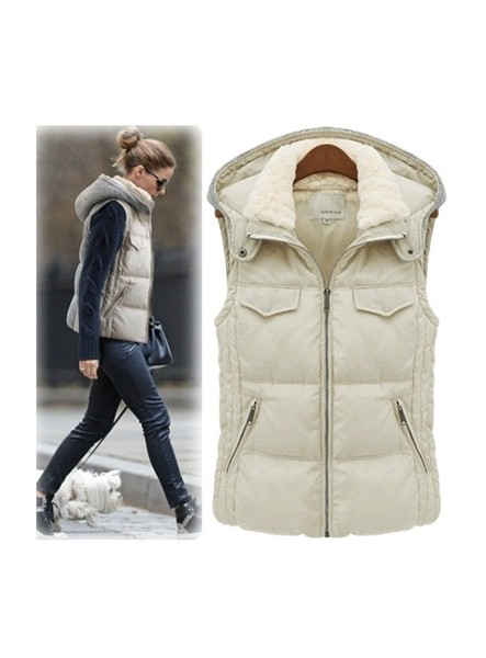 Beige vest, featuring a fur lapel and a hood, zipper fastening to the front, twin pockets, sleeveless, thick cotton vest, very warm, knitting back, soft wearing and high street style design.-montage-fur-lapel-b PRICE €152.00