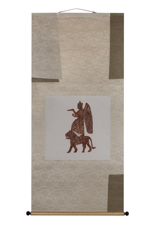 トルコ ヒッタイト時代 獅子に乗る女神像 装:吉澤白雲堂