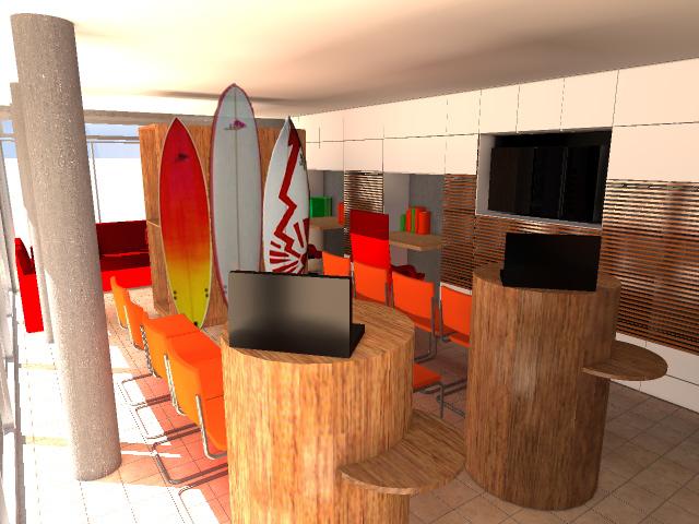Aménagement intérieur du Surfing Club de Saint-Gilles-Croix-de-Vie