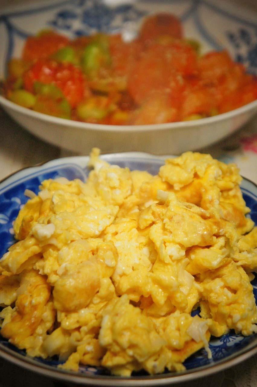 炒り卵も作って添えたよ♪