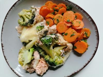 Rezept: Lachs-Brokkoli-Gratin-glutenfrei