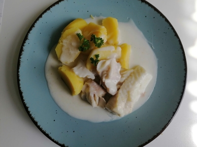 Fischfilet mit Senfsoße, glutenfrei