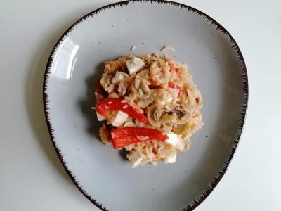 Rezept: Reis-Pilz-Pfanne mit Feta, glutenfrei