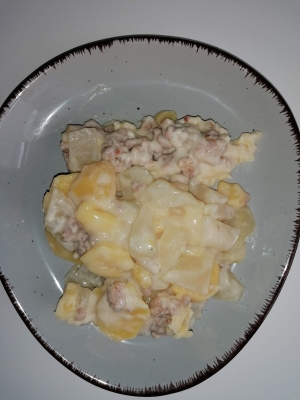 Kartoffelauflauf mit Hackfleisch und Kohlrabi, glutenfrei