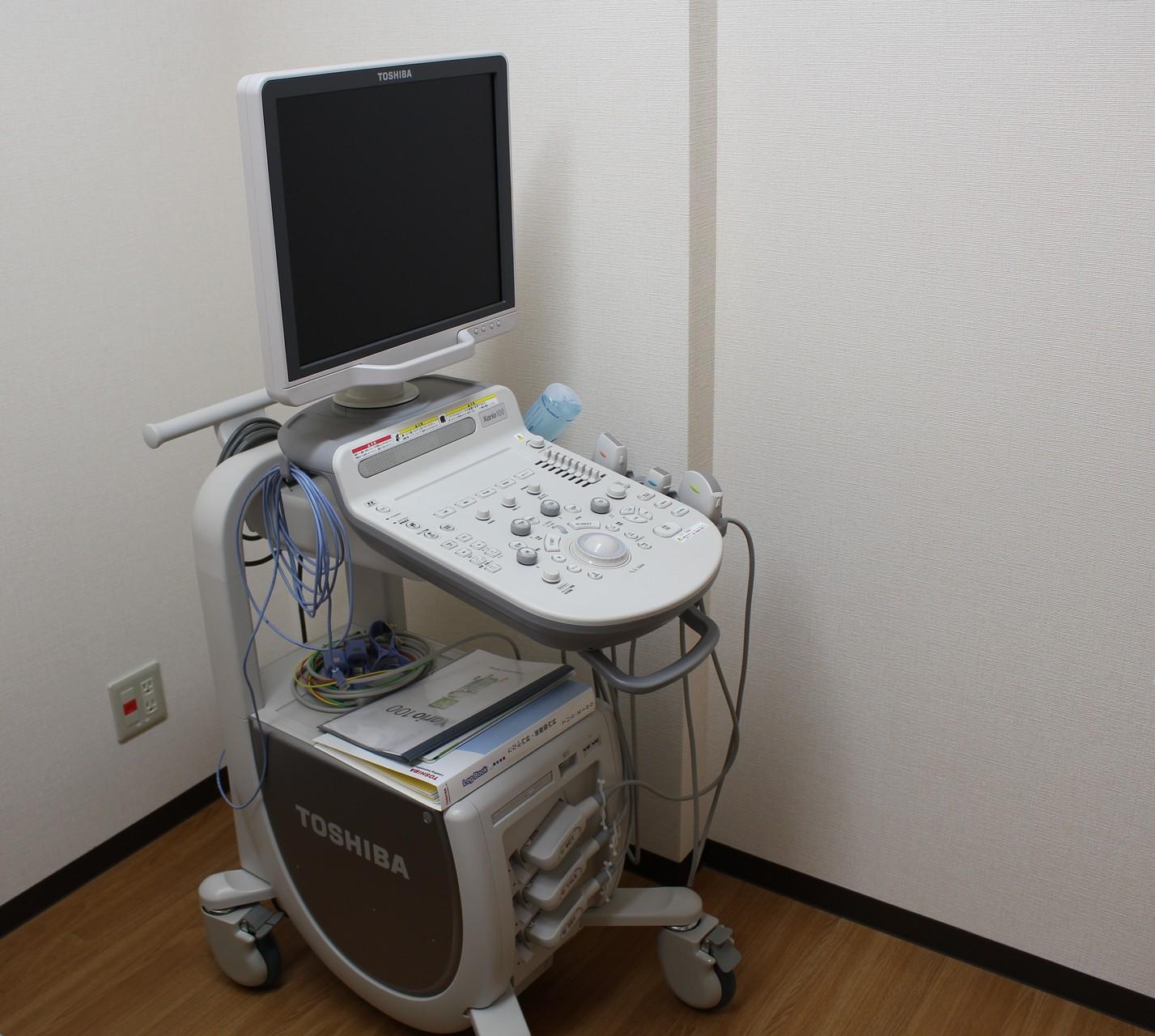 心エコー(心筋梗塞、心臓弁膜症など心機能評価できます)・頸動脈エコー・(腹部エコー)