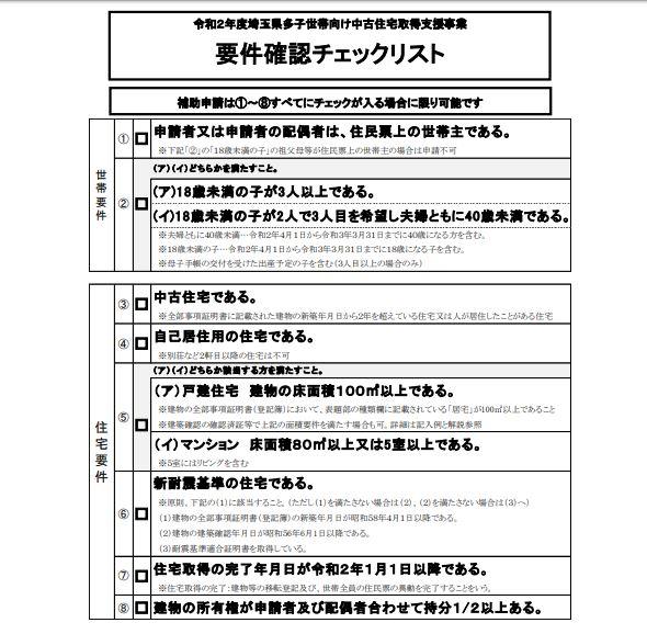 埼玉県多子世帯住宅補助対象物件