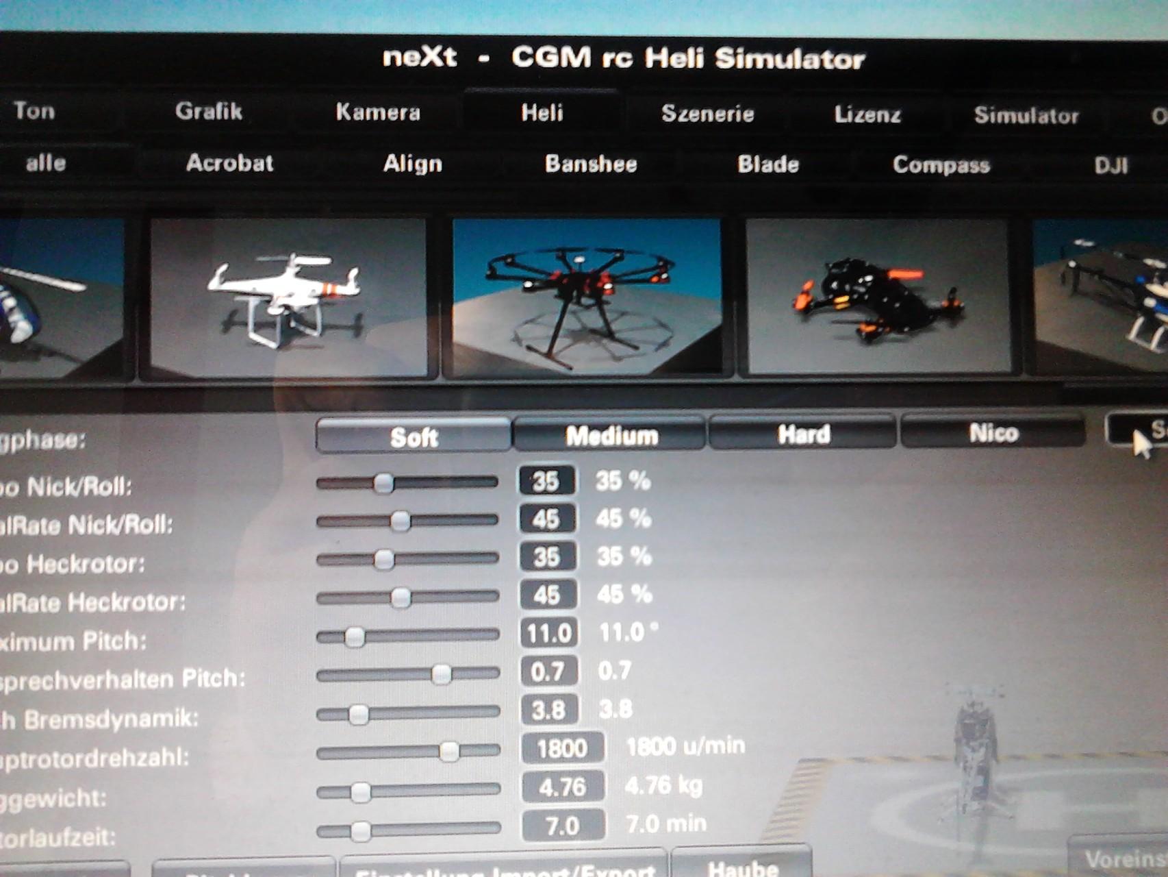 Simulator  Einstallungen Heli / Quadrocopter usw.