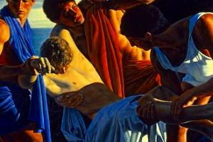 Détail d'après Achille et le corps de Patrocle (1986), David Ligare