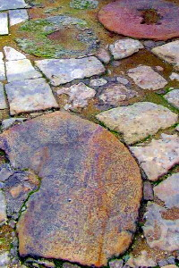 Grindstones used as pavement