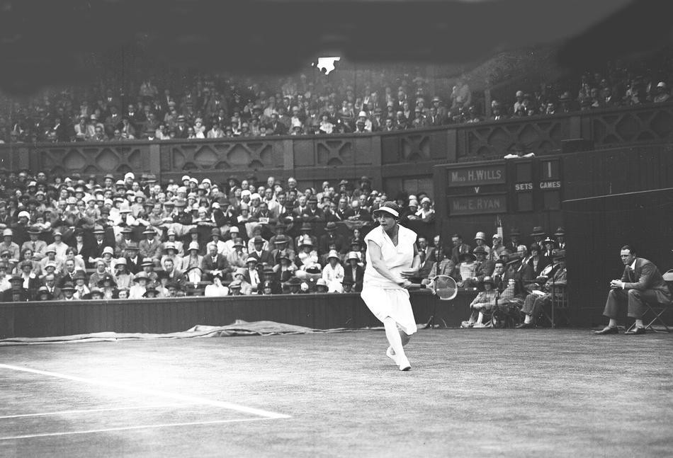 American tennis star Helen Wills, in action in the semi-final of the Women's Singles Tournament , at Wimbledon, London, on July 4, 1928. Miss Wills defeated fellow American Elizabeth Ryan, 6-1, 6-1. (AP Photo)