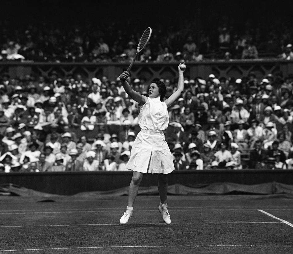American tennis player Sarah Palfrey at Wimbledon, London on July 3, 1934 (AP Photo/Staff/Putnam)