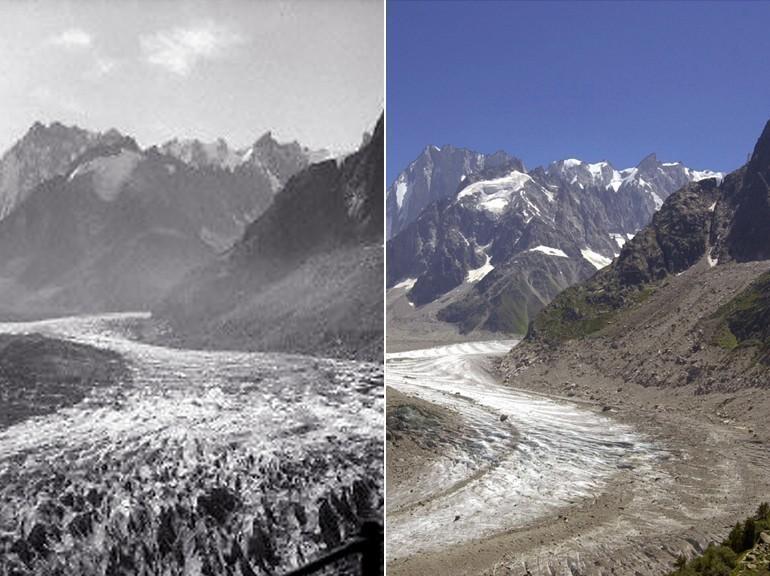 Glacier fondu au fil du temps