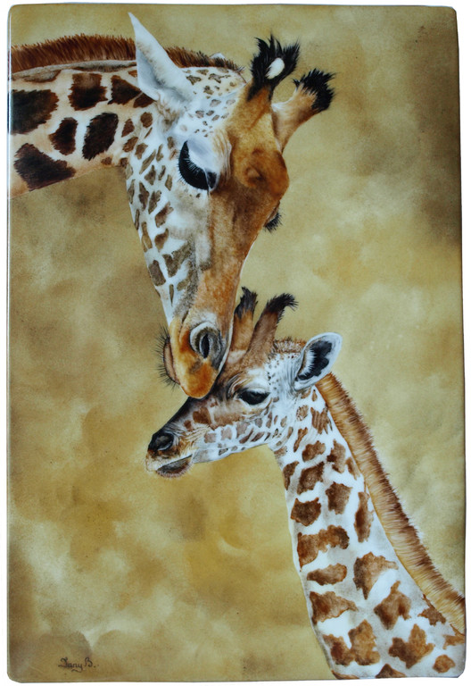 maman et bébé girafe sur plaque de porcelaine