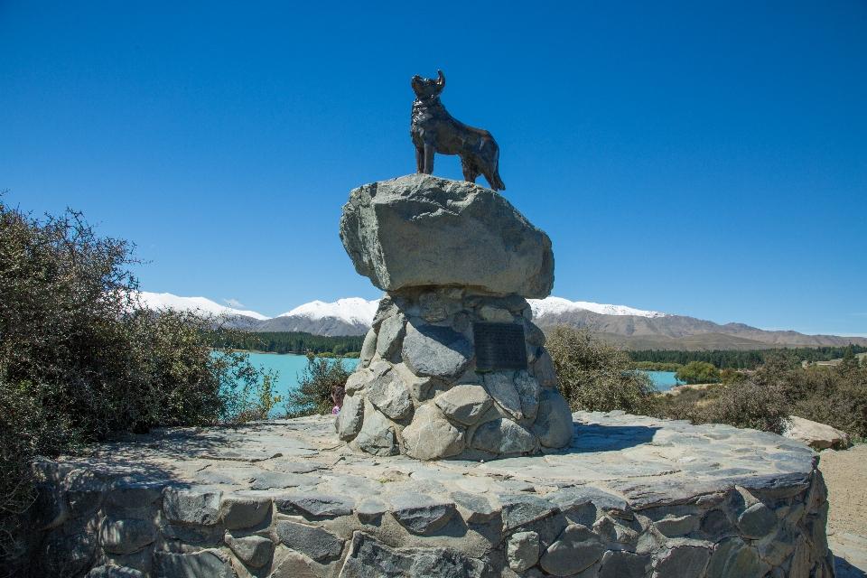 Am Ufer hat auch diese Statue Blick auf den See, die man zu Ehren der fleißigen Hütehunde erbaut hat, ohne die die Menschen in Neuseeland blöde aus der Wäsche gucken würden.