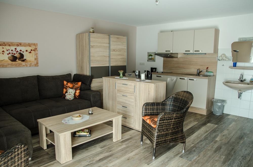 Gästezimmer, Wohnbereich mit Single-Küche und Schlaf-Couch, Bild 1