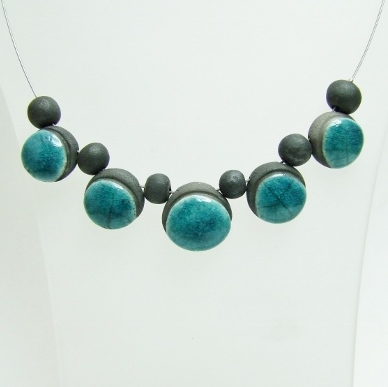 collier ceramique bleu
