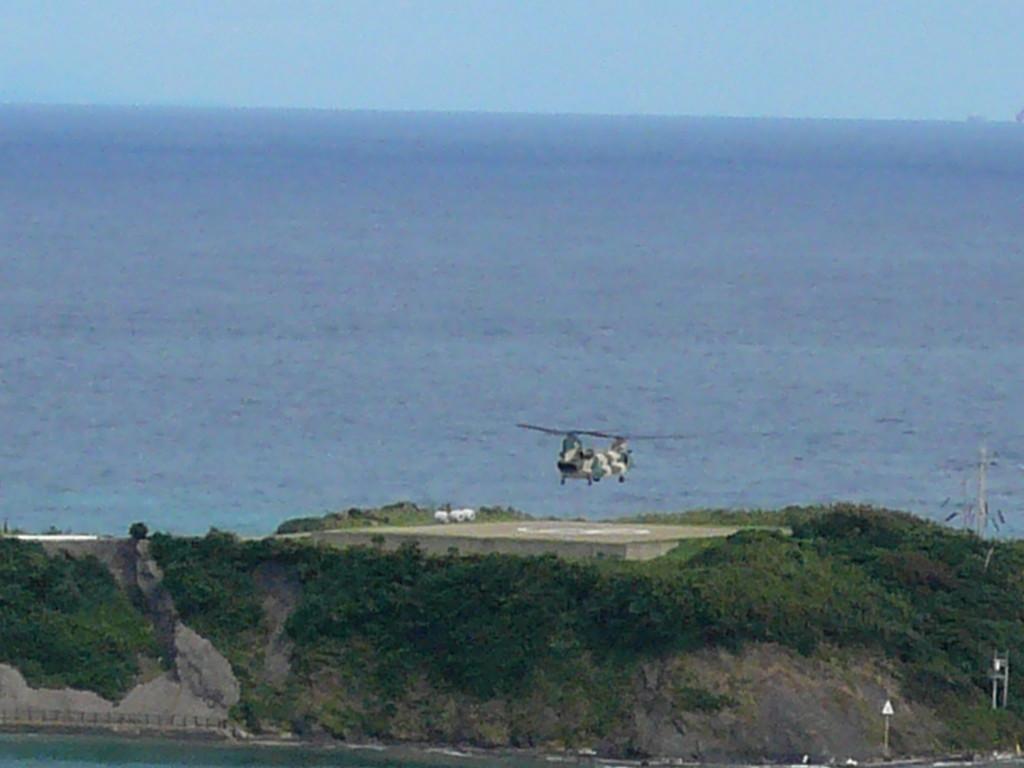 航空自衛隊 ヘリ離陸中