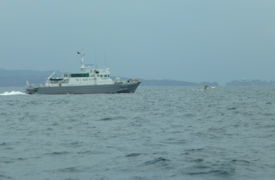 海上保安庁の巡視船 遊漁船ライフジャケット・取り締まり中