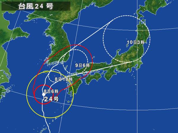 10月8日夕方~9日早朝に 対馬近海通過予報