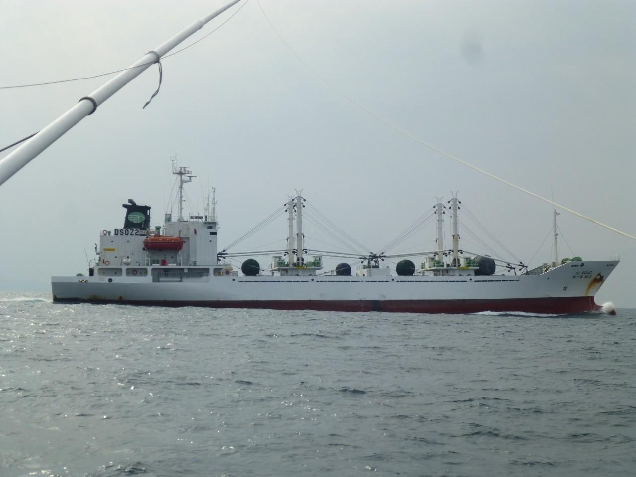 1月25日 外国船がすぐ近くを通過します 釜山行き