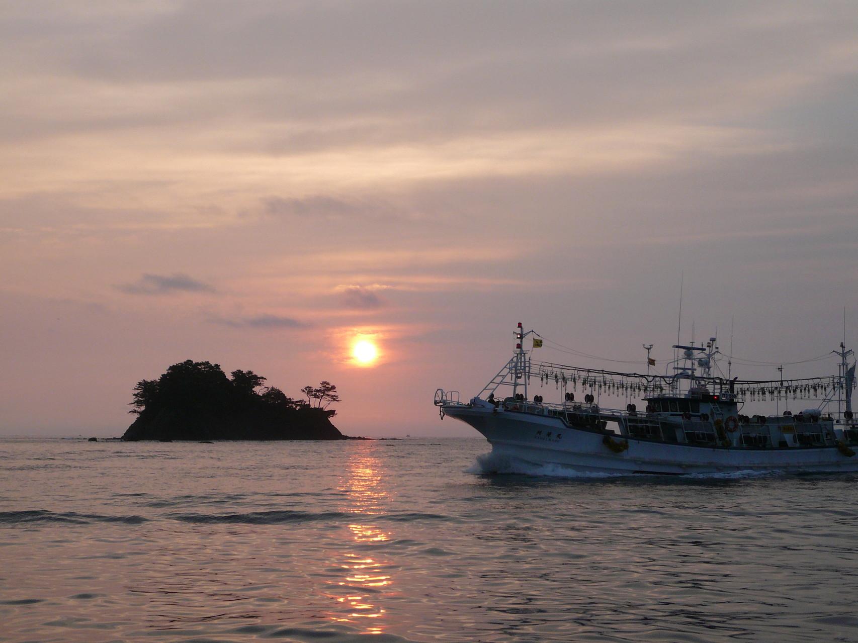 6月23日 久しぶりに出漁 日の出と共にイカ釣り船の帰港