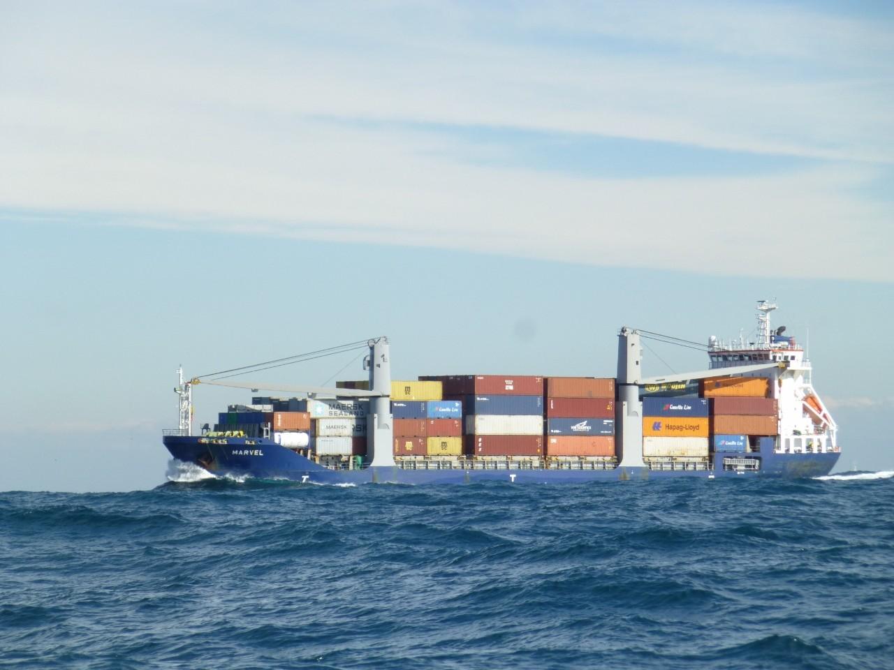 1月7日近くをコンテナ船 汽笛を 鳴らし通過します