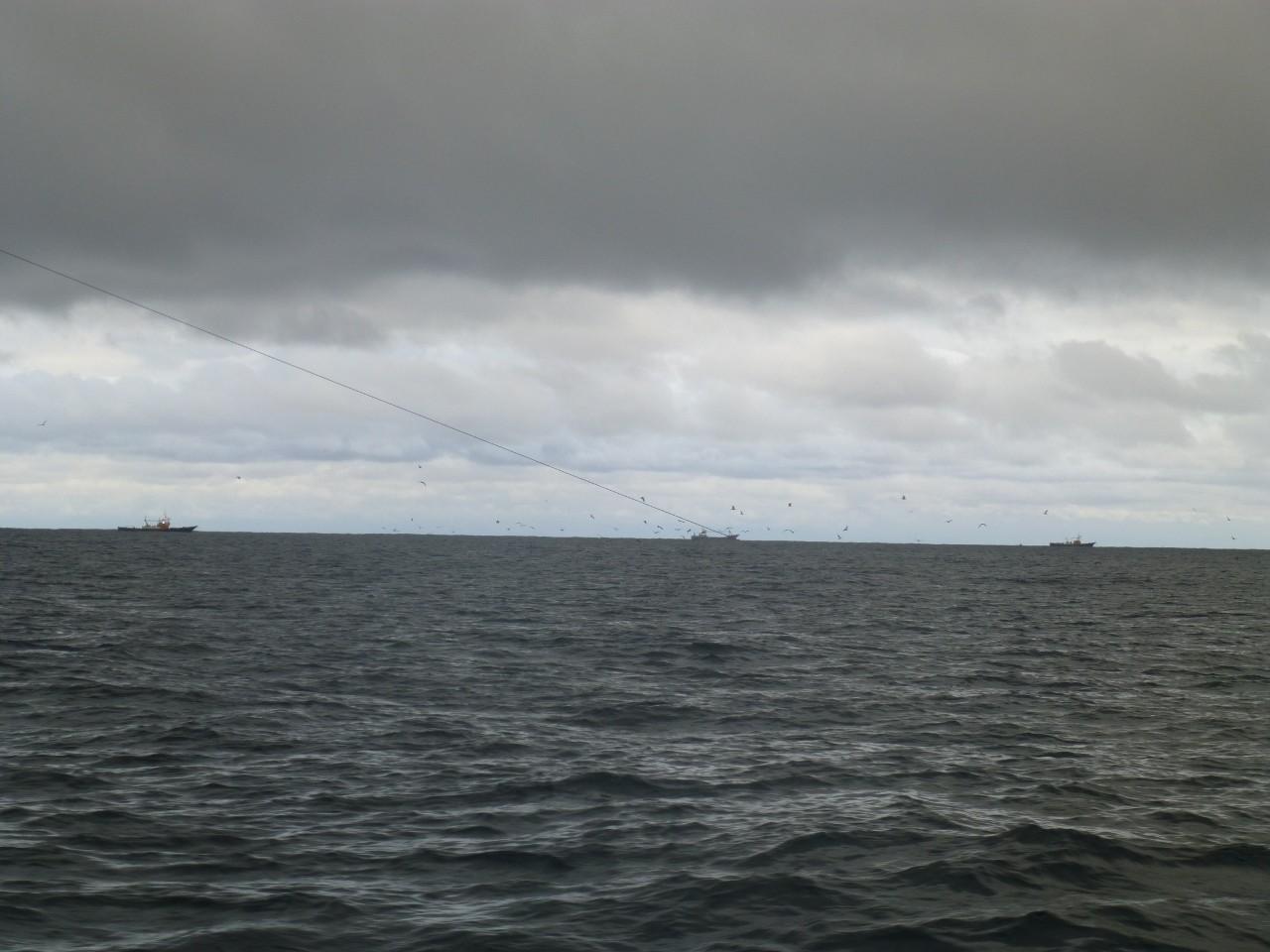 12月20日一重だしポイント付近 午後~明日にかけ時化・大型巻き網船東側で避難しています