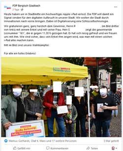 FDP-Facebook-Sceenshot. Gesichter unkenntlich gemacht.