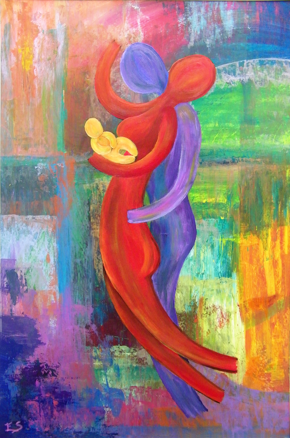 Intuïtief schilderij - samen één