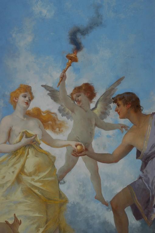 Particolare: Paride consegna a Venere il pomo a Venere. Sullo sfondo: Il messaggero degli dei.