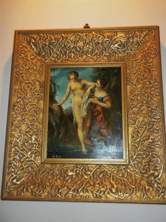 Olio '900 - Miniatura - Nudo di donna che prende il bagno - Cornice foglia oro a mecca.