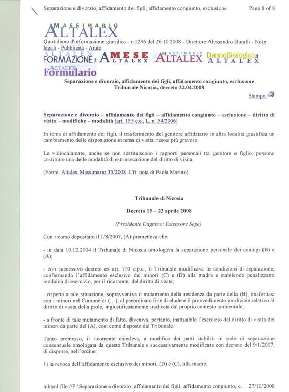 ALTALEX - N. 2296 DEL 22.10.2008 - Separazione e divorzio- diritto di visita