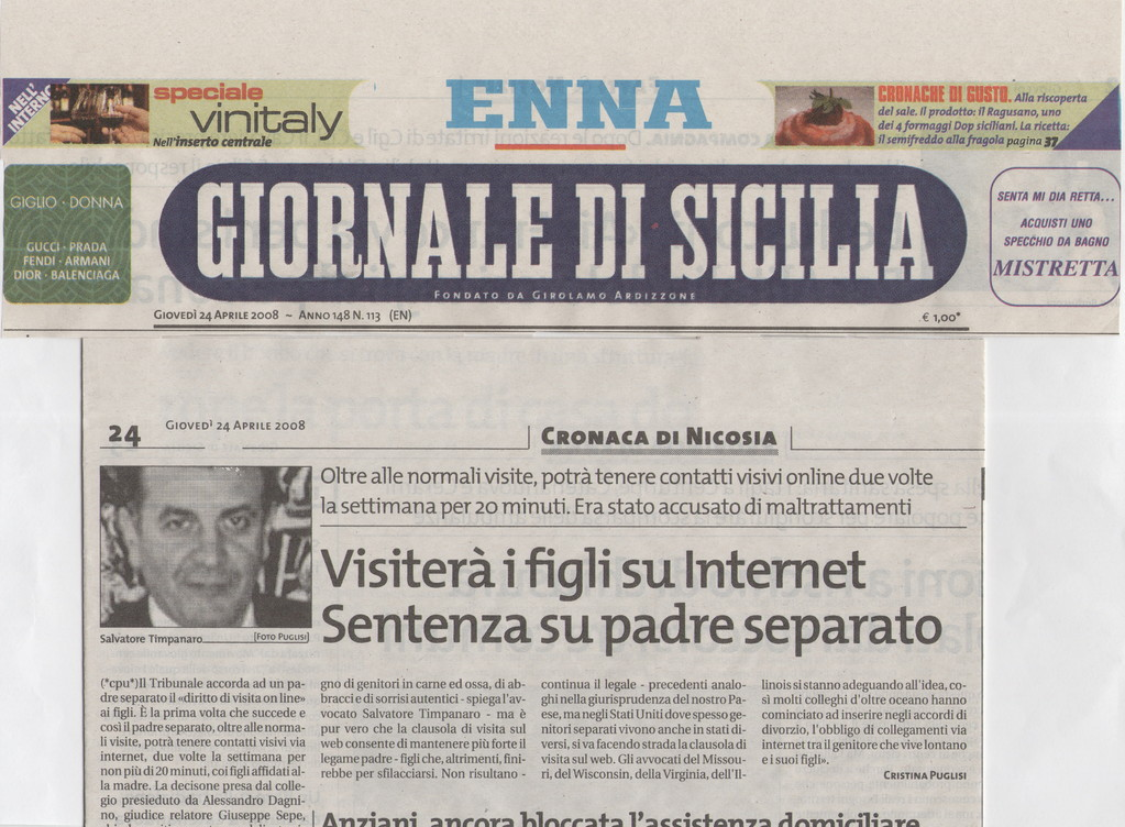"""GIORNALE DI SICILIA - Giovedì 24 aprile 2008 """"Visiterà i figli su internet.Sentenza su padre separato"""""""