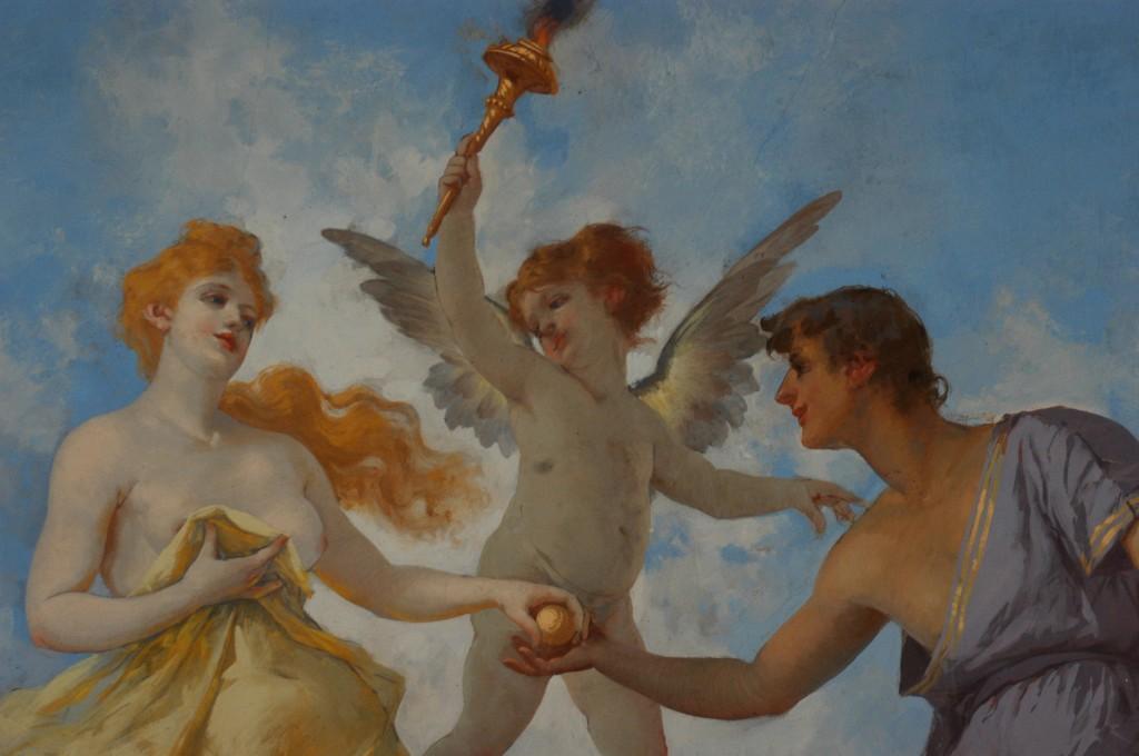 Particolare: Paride consegna a Venere il pomo. Scambio di sguardi. (Primo piano)