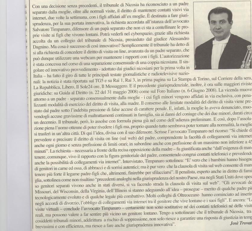 """BREVIARIO - Tribunale di Nicosia-""""Una rivoluzione giurisprudenziale in tema di rapporti coi figli dopo la separazione"""" - I tuoi figli sono lontani? Puoi incontrarli sul web."""