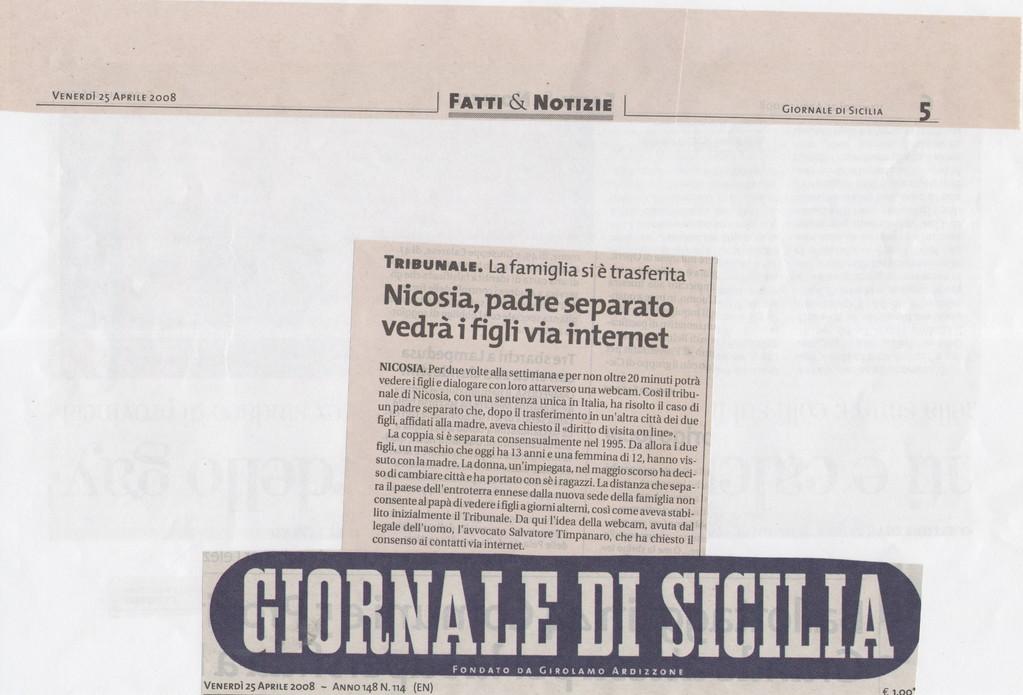 """GIORNALE DI SICILIA - Venerdì 25 aprile 2008 - """"Nicosia, padre separato vedrà i figli via internet"""""""