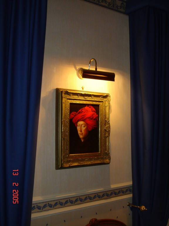 "Studio privato. Gabinetto. Jan Van Eyck - Uomo con turbante rosso 1433 ""Falso d'autore"" (originale: National Gallery London)."